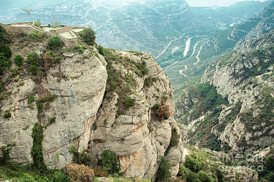 Background Photograph - Columns Of Conglomerate Rock  At Montserrat, Spain by Dani Prints and Images