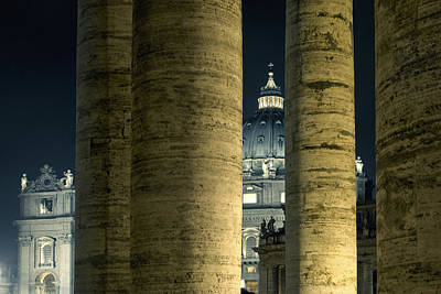 Photograph - Columns Of Vatican With San Pietro Basilica By Night by Vlad Baciu