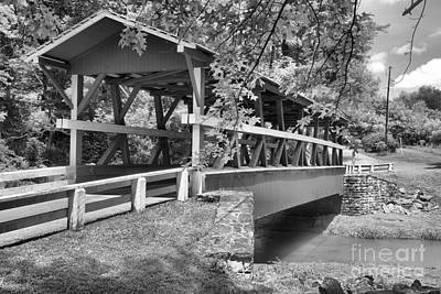 Photograph - Colvin Bridge Over Shawnee Creek Black And White by Adam Jewell