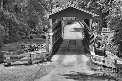 Photograph - Colvin Covered Bridge In The Forest Black And White by Adam Jewell