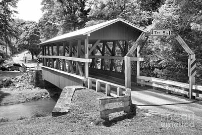 Photograph - Colvin Covered Bridge Landscape Black And White by Adam Jewell