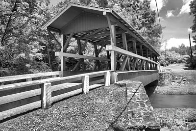Photograph - Colvin King Post Covered Bridge Black And White by Adam Jewell
