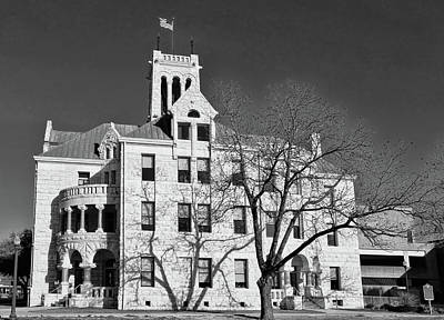 Photograph - Comal County Courthouse Black And White by Judy Vincent