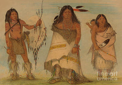 Comanche Chief, His Wife And A Warrior, 1861 Art Print by George Catlin