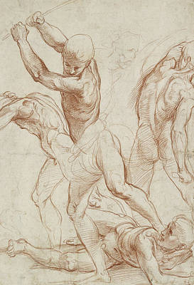 Dynamic Drawing - Combat Of Nude Men  by Raphael