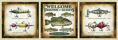 Combination Lure And Fish Welcome Panel  Art Print by Jon Wright