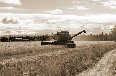 Photograph - Combine - Delta Junction - Sepia by Cathy Mahnke