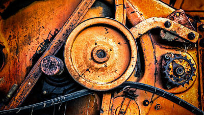 Photograph - Combine Harvester Abstract Cogs by John Williams