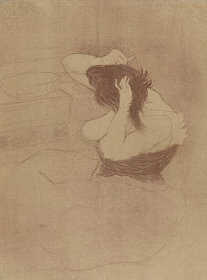 Relief - Combing Their Hair by Henri de Toulouse-Lautrec
