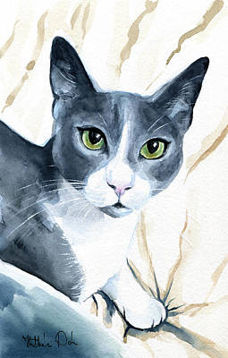 Painting - Come Home - Blue Tuxedo Cat Portrait by Dora Hathazi Mendes