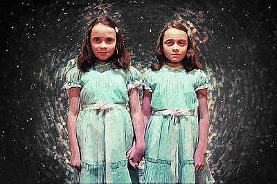 Spooky Digital Art - Come Play With Us - The Shining Twins by Taylan Apukovska