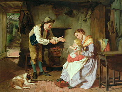 Caring Mother Painting - Come To Daddy by William Henry Midwood