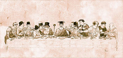 Groucho Marx Drawing - Comedy's Last Supper by Tom Dudzick