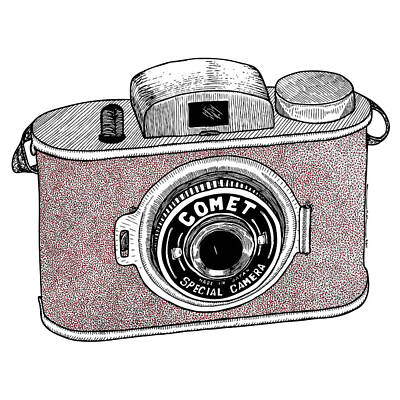 Vintage Camera Drawing - Comet Camera by Karl Addison
