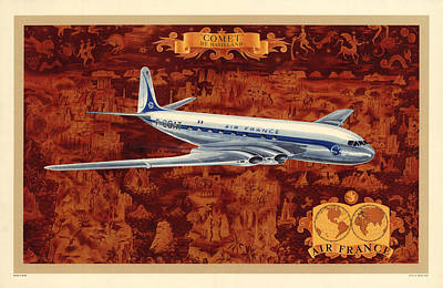 Mixed Media - Comet - Di Havilland - Illustrated Poster Of The Air France Aircraft - Vintage Poster by Studio Grafiikka