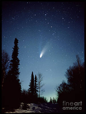 Photograph - Comet Hale-bopp And Aurora Borealis by J Finch SPL