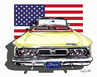 Comet S22 Convertible From Mercury 1963 Print by Geoff Latter