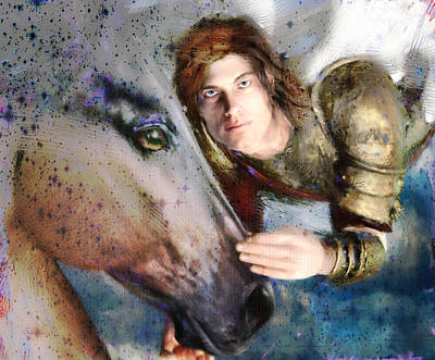 Saint Michael Painting - Comfort Against The Storm Saint Michael by Suzanne Silvir