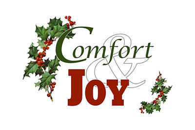 Digital Art - Comfort And Joy White Background by Donna Cervelli
