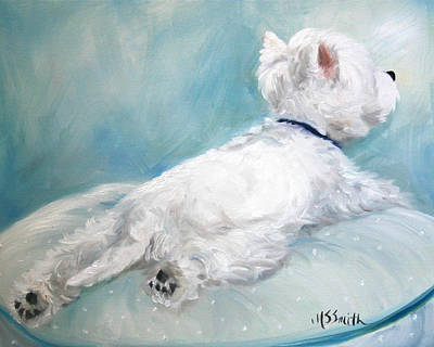 Puppies Painting - Comfort Zone by Mary Sparrow