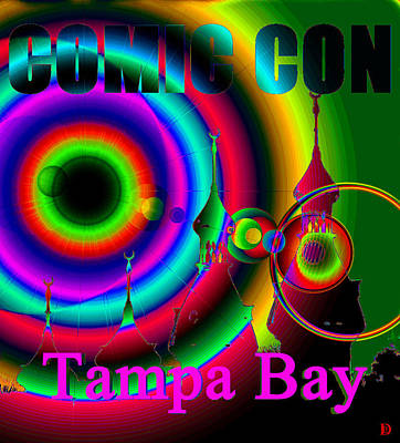 Comic Con Painting - Comic Con Tampa Bay Pink Print by David Lee Thompson