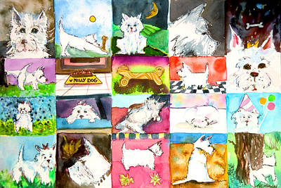 Smiling Mixed Media - Comical Westie by Mindy Newman