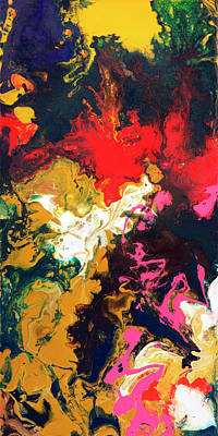 Fluid Painting - Coming Back To Life, Canvas One Of Five by Sally Trace
