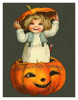 Pumpkin Art Card Mixed Media - Coming From A Big Pumpkin by Long Shot