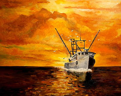 Fire And Water Painting - Coming Home by Alan Lakin