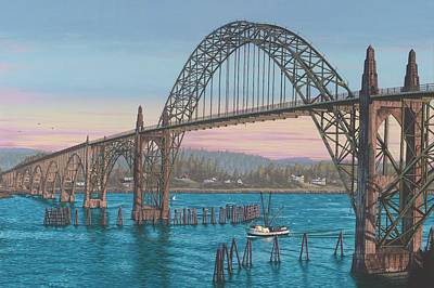 Yaquina Bay Bridge Painting - Coming Home by Andrew Palmer