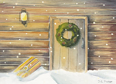Snow Christmas Wreath Painting - Coming Home by Jordan Parker