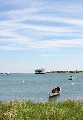 Coming Home Marthas Vineyard Ferry Arrives In Vineyard Haven Masachusetts Print by Michelle Wiarda