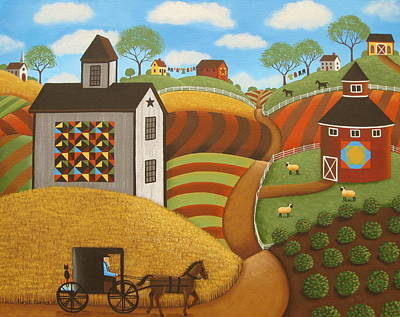 Country Setting Painting - Coming Home by Mary Charles