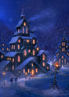 Snowstorm Painting - Coming Home by Philip Straub