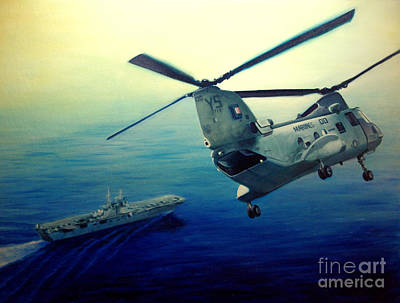 Helicopters Painting - Coming Home by Stephen Roberson
