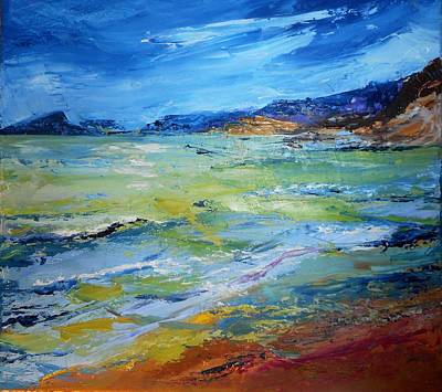 Turbulent Skies Painting - Coming Storm At El Portet by Christine Storey