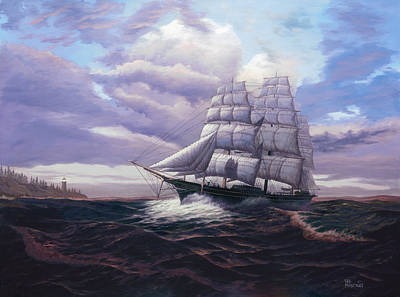 Clippers Painting - Coming Through The Storm by Del Malonee