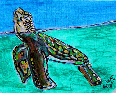 Baby Sea Turtle Painting - Coming Up For Air by W Gilroy