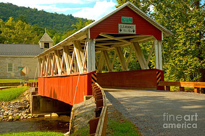 Photograph - Coming Up On The St. Mary Covered Bridge by Adam Jewell