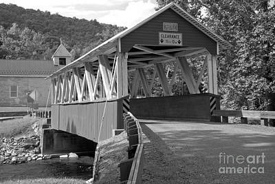 Photograph - Coming Up On The St. Mary Covered Bridge Black And White by Adam Jewell