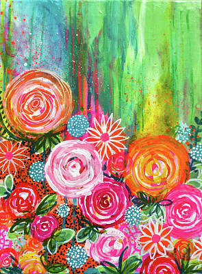 Wild Rose Painting - Coming Up Roses by Robin Mead