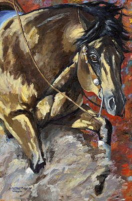 Red Dun Horse Painting - Commandalena by Sarrah Dibble-Camburn