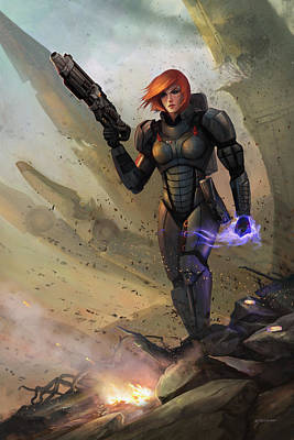 Digital Art - Commander Shepard by Steve Goad