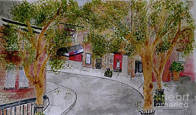 Painting - The Charming Commerce Street In The West Village by Afinelyne