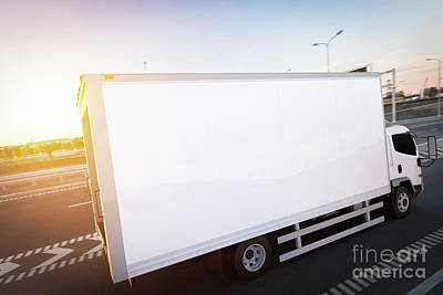 Commercial Cargo Delivery Truck With Blank White Trailer Driving On Highway Art Print