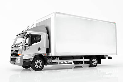 Commercial Cargo Delivery Truck With Blank White Trailer. Generic, Brandless Design. Art Print