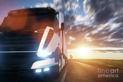 Professional Photograph - Commercial Cargo Delivery Truck With Trailer Driving On Highway At Sunset. by Michal Bednarek