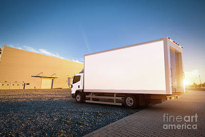 Carrier Photograph - Commercial Delivery Truck With Blank White Trailer On Cargo Parking. by Michal Bednarek