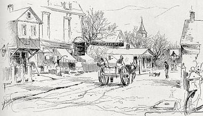 Cape Cod Drawing - Commercial Street Provincetown Cape Cod by Vintage Design Pics