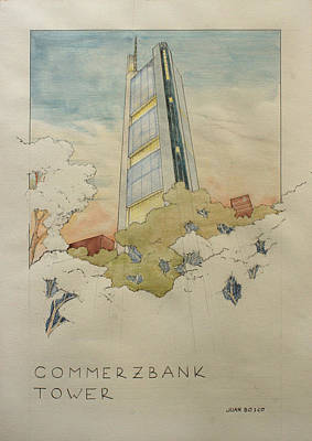 Architectural Painting - Commerzbank Frankfurt by Juan  Bosco